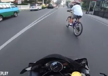 Dengkul Langsung Gemetar, Motor Sport Yamaha R6 Ngebut Hampir Tabrak Seorang Pesepeda Main Potong Jalan, Yang Salah Siapa?