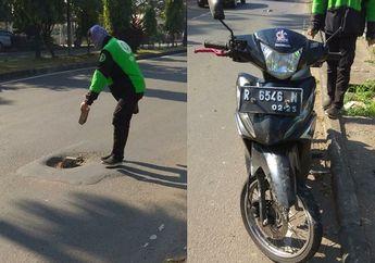 Ngeri-ngeri Sedap, Lubang di Tengah Jalan Bikin Pemotor Honda Revo Cilaka, Sok Depan Speleng Roda Depan Jadi Peyang