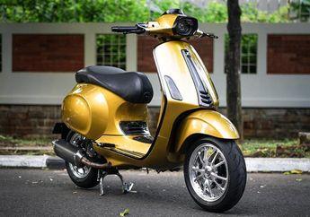 Modifikasi Vespa Sprint 150 i-Get Spek Sultan, Kelir Gold Ala BMW M4 dan Bertabur Part Hedon