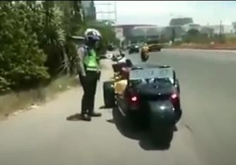 Viral, Video Detik-detik Polisi Tilang Motor Mewah Roda Tiga Milik Bupati Karawang Cellica Nurrachadiana