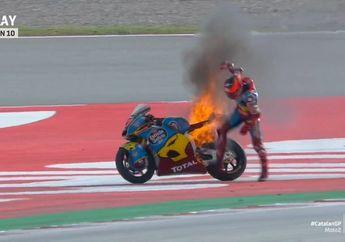 Ngeri Banget, Video Detik-detik Motor Pembalap Augusto Fernandez Dilalap Api di MotoGP Catalunya 2020