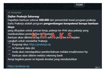 Awas! Link Palsu Bantuan Rp 600 Ribu Kartu Prakerja Beredar di Grup WhatsApp, Bikers Hanya Daftar di prakerja.go.id