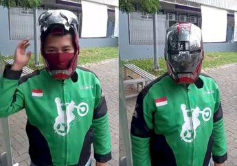 Canggih! Driver Ojol Pakai Helm Iron Man, Bisa Buka Tutup Otomatis, Waduh Bisa Ditilang Polisi Gak Ya?