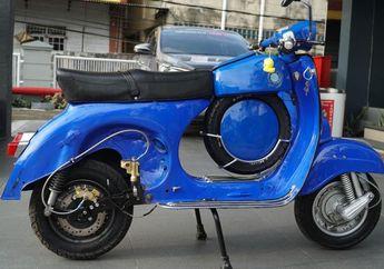 Peringati Hari Ulang Tahun PLN,  Vespa Klasik Disulap Jadi Motor Listrik