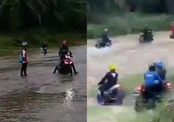 Jalan Ditutup, Klub Motor Touring Terpaksa Lewat Areal Kebun Sawit Sampai Ad yang Nyebur ke Sungai