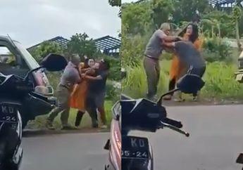 Viral Video Dua Pria Baku Hantam Sampai Pemotor Kaget, Ini Alasannya