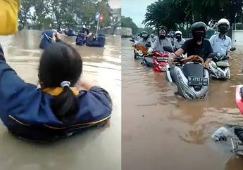 Bekasi Geger, Banjir Bikin Honda BeAT dan Motor Lain Keok, Ini Videonya
