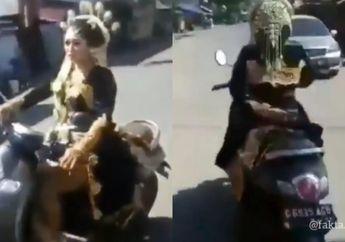 Viral Pengantin Wanita Naik Motor di Jalan Raya, Ternyata Begini Alasannya