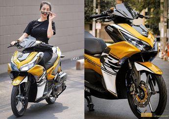 Lady Biker Cantik Naik Yamaha Aerox 2021 Full Carbon, Ini Detailnya