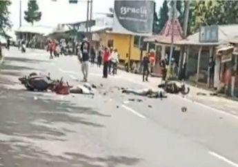 Lembang Geger, Video Motor Ambyar Gegara Tabrakan, Korban Tergeletak