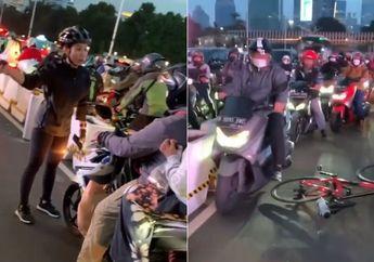 Viral Pemotor Masuk Jalur Sepeda Sudirman, Auto Cekcok Sama Pesepeda