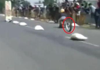 Ngeri! Detik-detik Ban Matik Copot saat Balap Drag Bike, Ini Kondisi Jokinya
