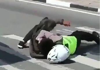 Heboh.. Viral Video Baku Hantam Polisi dengan Penjahat di Atas Aspal