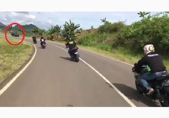Video Detik-detik Moge Cornering Bablas Hampir Serempet Mobil, Ngilu Blas!