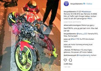 Meringis! Yamaha R15 Hancur Lebur Tabrakan dengan Jupiter Z di Grogol, Netizen Bilang Kualat