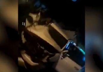 Ngeri... Bus Ugal-ugalan Hindari Pemotor Malah Tabrak Mobil Sampai Hancur, Kondisi Sopir Bikin Melongo