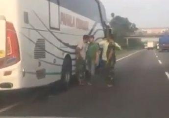Viral... Video Detik-detik Anggota TNI Nyaris Tersungkur Dikeroyok Sopir Bus Pahala Kencana, Penumpang Histeris