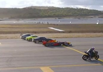 Ngeri! Drag Race Anti Mainstream Ninja H2R vs Pesawat vs Jet Tempur F-16 vs Mobil Formula 1 vs Supercar, Pemenangnya...