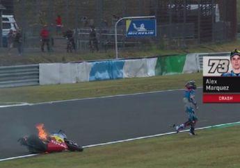 Adik Marc Marquez Terlibat Kecelakaan di FP1 Moto2, Motor Nyaris Ludes Terbakar