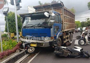 Tiga Motor Patuh Terhadap Lampu Merah, Tapi  Malah Dihantam Truk di Bali, Satu Tewas