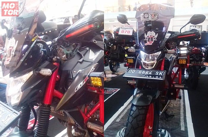 Pemasangan windshield untuk modifikasi touring Honda CB150R Streetfire