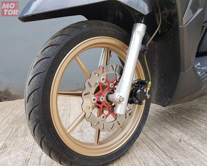 Piringan Honda Vario 150 setelah diupgrade pake piringan 220 mm