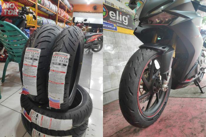 Ilustrasi ban radial di motor sport 250cc.