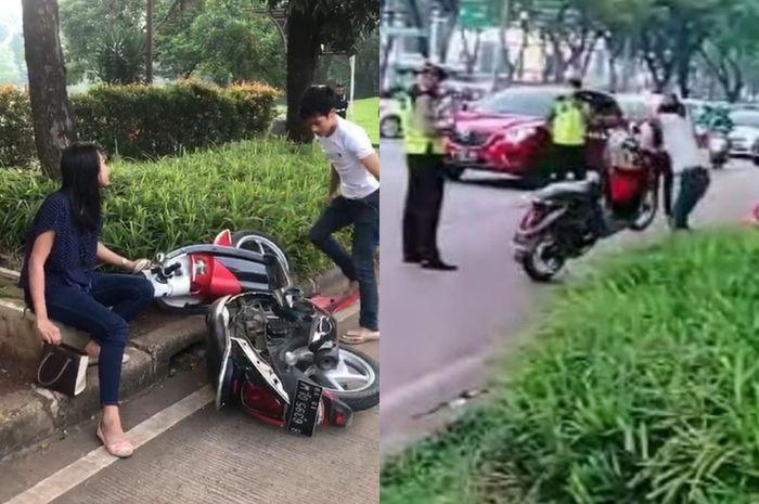 Video viral pria hancurkan motor Honda Scoopy di BSD, Tangsel.