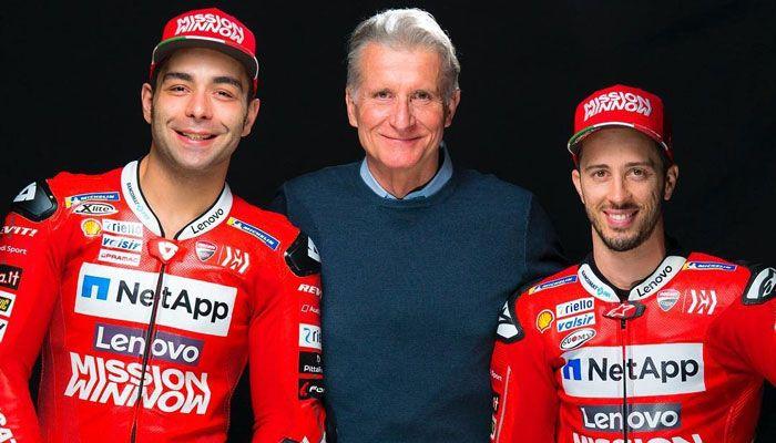 Paolo Ciabatti, Direktur Sport Ducati diapit Danilo Petrucci dan Andrea Dovizioso