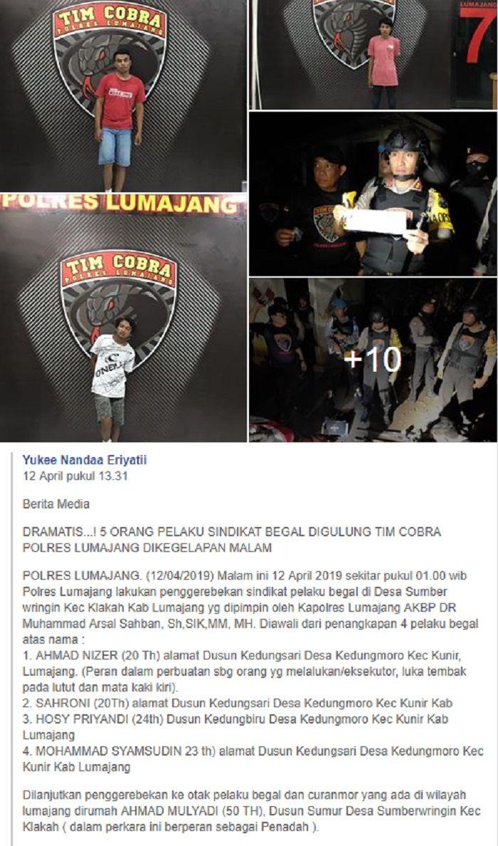 5 begal motor diringkus tim Cobra dan polisi dari Polres Lumajang.