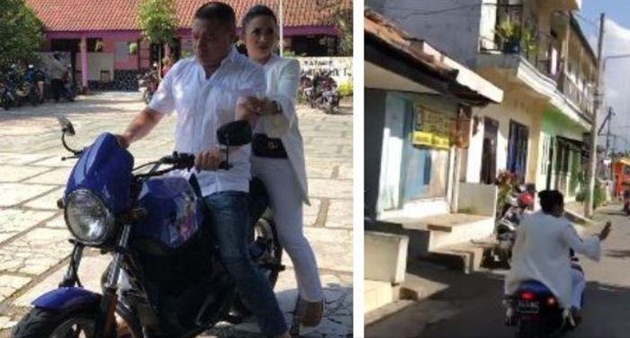 Krisdayanti dan Raul Lemos saat mendatangi TPS di Malang, Jatim.