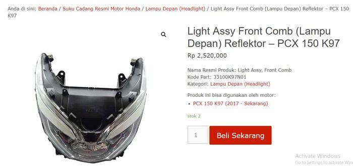 Harga satu set lampu Honda PCX 150