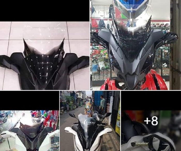 Honda PCX 150 gagah pakai tameng windshield dan spion LED.