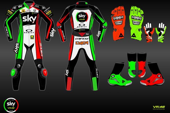 Tampilan pakaian balap yang akan dipakai tim balap Valentino Rossi, Sky Racing Team VR46, pada ajang Moto2 dan Moto3 Italia 2019 di Sirkuit Mugello, 31 Mei-2 Juni.