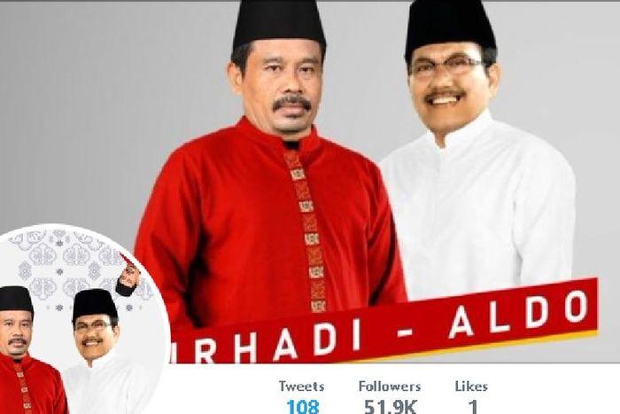 Calon presiden Nurhadi dan pasangan cawapres-nya Aldo di akun Twitter mereka di @nurhadi_aldo yang menjadi viral.