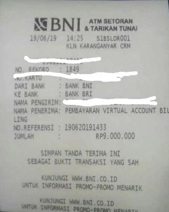 Bukti pembyaran lewat BNI Virtual Account