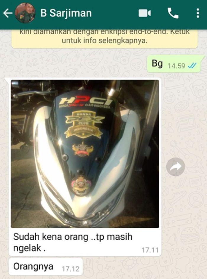 Honda PCX warna putih milik pelaku geng motor yang rusak kaca spion mobil TNI AD.