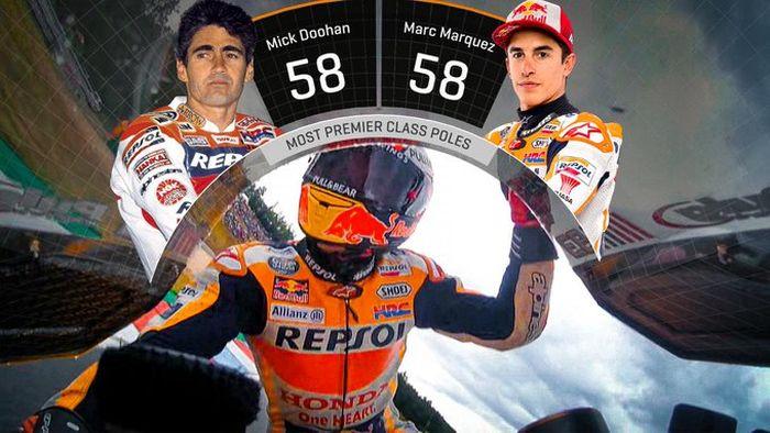 Marc Marquez di MotoGP Rep Ceska 2019 berhasil menyamai perolehan pole position terbanyak di kelas premier.