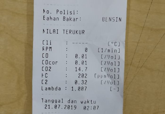 Hasil uji emisi Honda PCX 150 dari mesin milik Nawilis