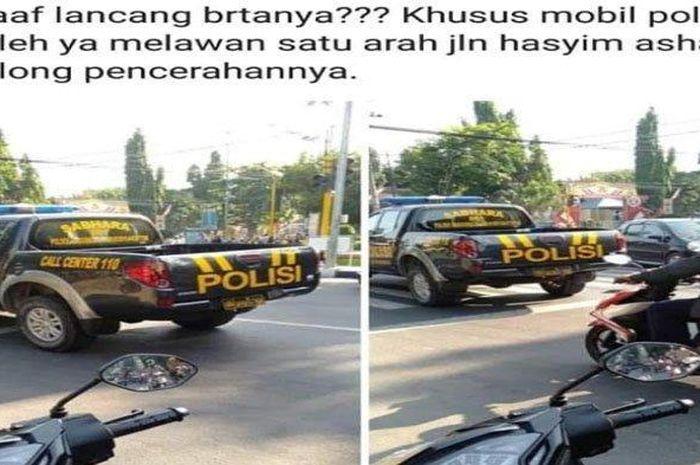 Mobil patroli polisi yang melanggar lalu lintas dengan melawan arah