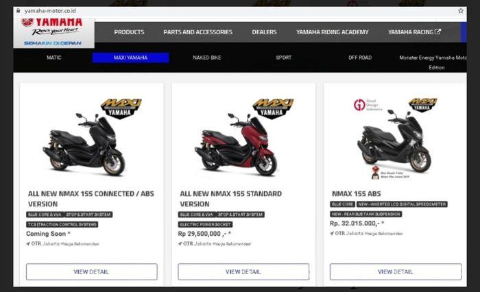 Capture dari web Yamaha Indonesia. Terlihat harga Yamaha All New NMAX