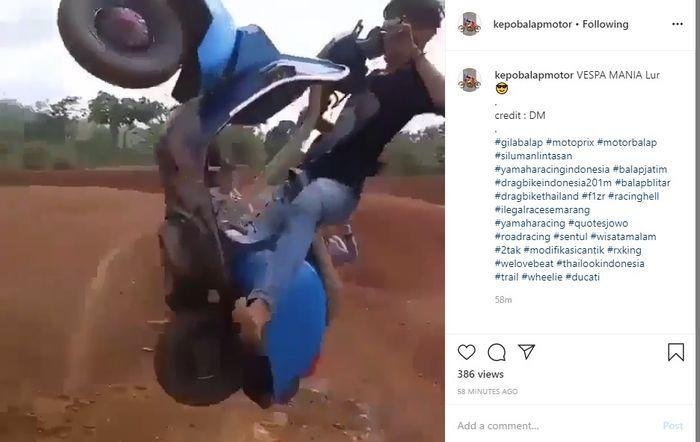 Video yang diunggah di akun Instagram @kepobalapmotor
