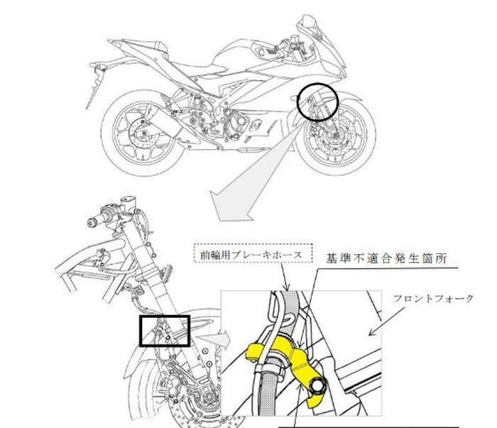 Kerusakan Yamaha R25 di Jepang berawal dari komponen selang rem.