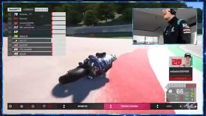 Ilustrasi. Penampilan Fabio Quartararo di MotoGP Virtual Race alami 3 kali crash dan finis posisi 4 sampai diwanti-wanti tim Petronas Yamaha SRT