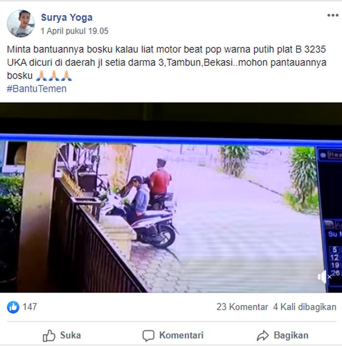 Video pencurian Honda BeAT Pop dibagikan Surya Yoga ke grup FB INFO KRIMINAL & LALU LINTAS (NUSANTARA)