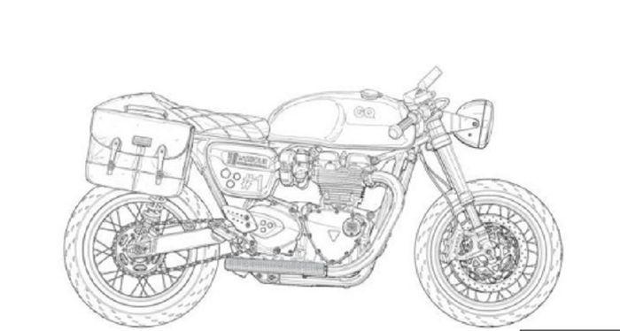 Buku gambar berisi motor-motor custom.