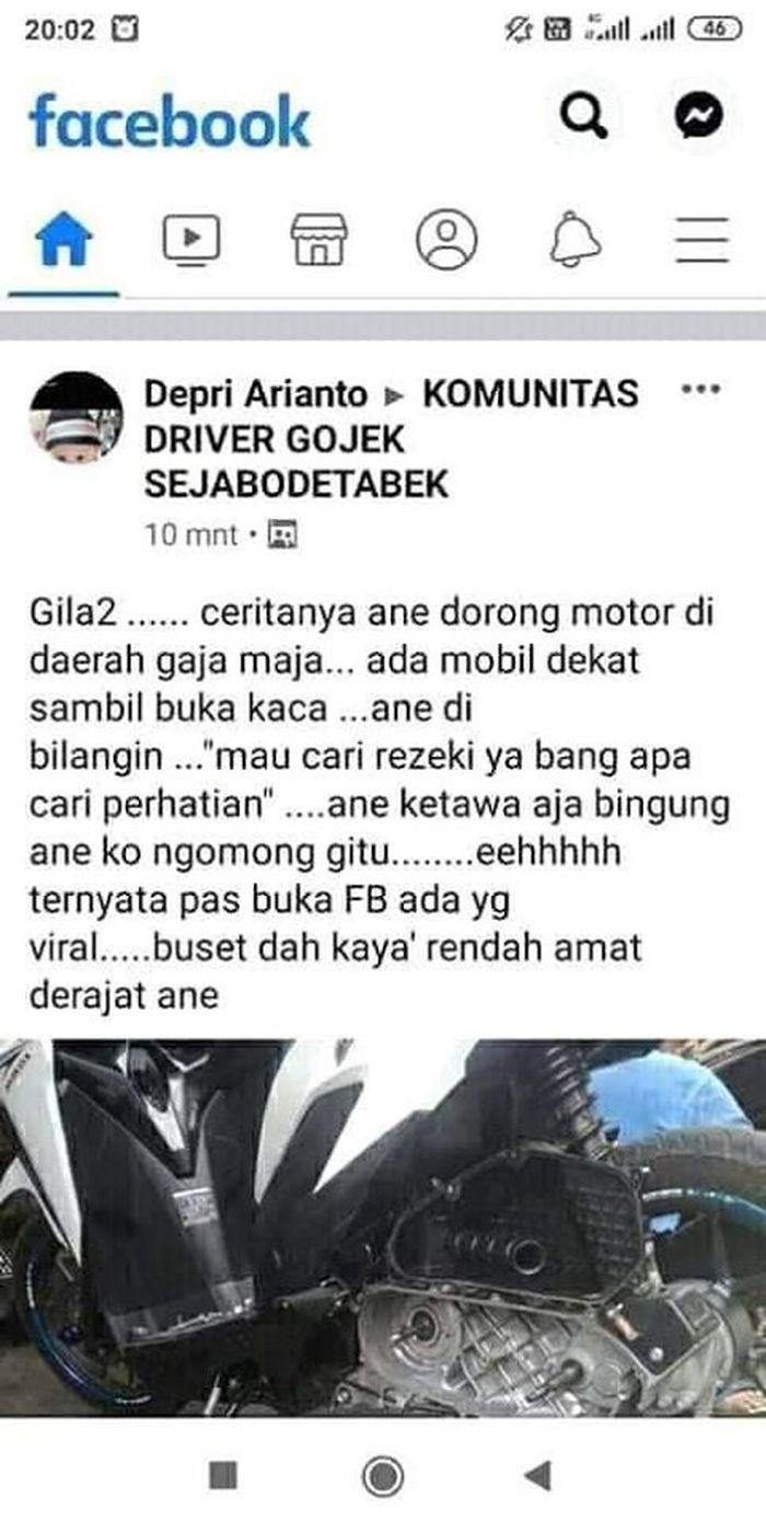 Salah satu screenshot dari grup FB KOMUNITAS DRIVER GOJEK SEJABODETABEK.