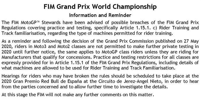 Surat 'cinta' dari Federasi Internasional Balap Motor ditujukan kepada Fabio Quartararo perihal latihan motor naik motor spek balap