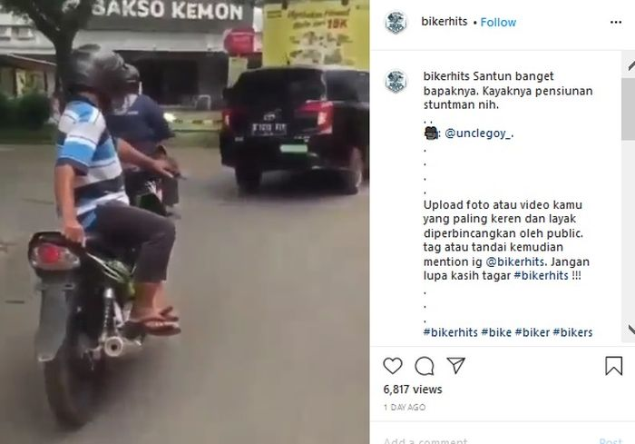 Postingan bapak-bapak freestyle diatas motor