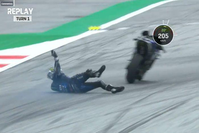 Maverick Vinales kecelakaan di MotoGP Styria 2020.